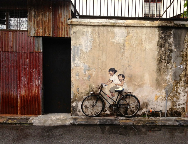 Kids on Bicycle Street Art in George Town