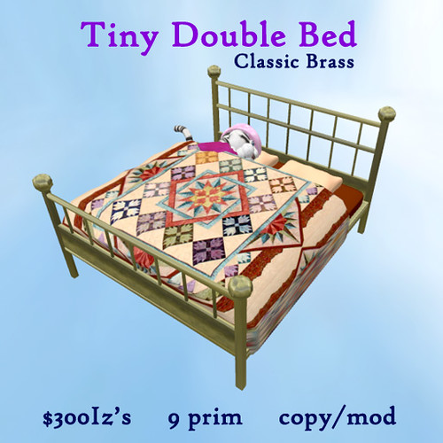 Tiny Double Bed - brass by Teal Freenote