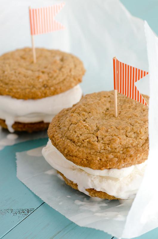 Oatmeal Creme Pie Ice Cream Sandwiches