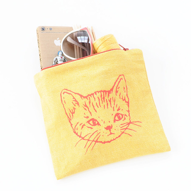 kitty zip pouch | yellow