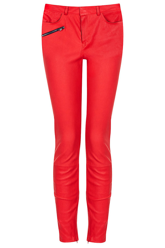 topshop kate bosworth red leather trousers