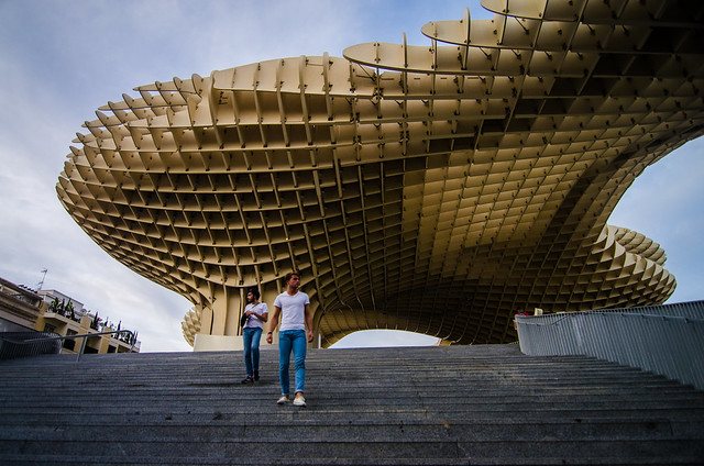 Lots of stairs at Sevilla's Metropol Parasol structure.