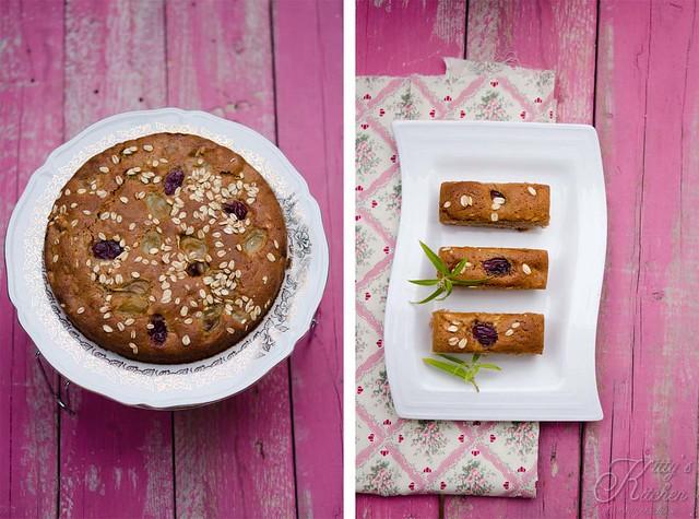 torta alle castagne con uva e avena