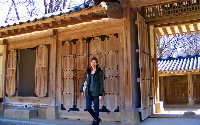 Visiting one of Seoul's palaces in winter.