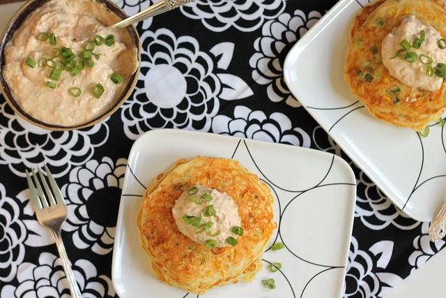 Plate 'em up! Corn cakes and crema