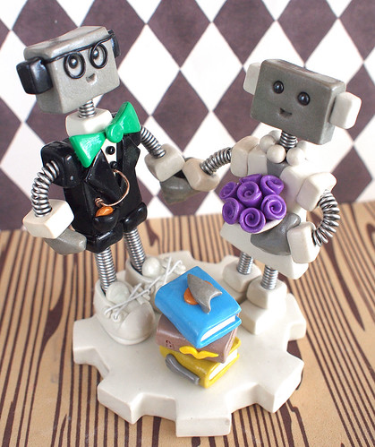 Commission: Nerdtastic Robot Wedding Cake Topper by HerArtSheLoves