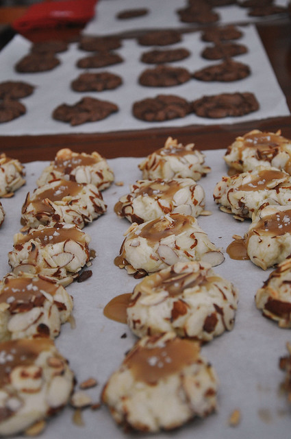 Salted Caramel Almond Thumbprint Cookies