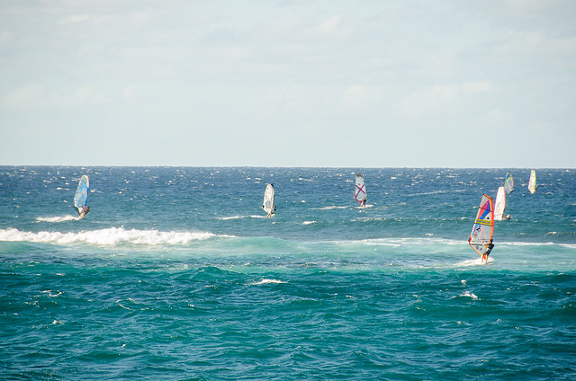 Windsurfers on the North Shore of Maui