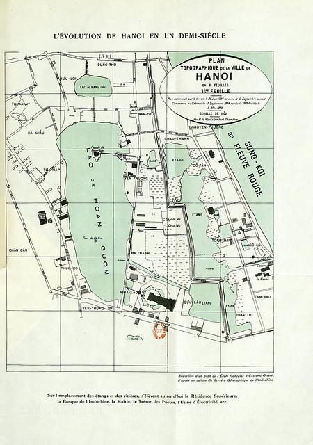 Bản đồ địa hình HÀ NỘI 1884-85 - Sự phát triển của Hà Nội trong nửa thế kỷ (Bản đồ lớn mới làm)