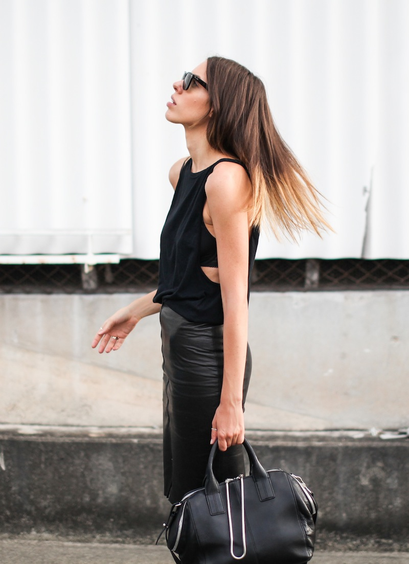 modern legacy fashion blogger Australia street style leather pencil skirt all black Converse All Star Bassike cutaway tank Alexander Wang Jamie Chastity tote chain bag (5 of 9)