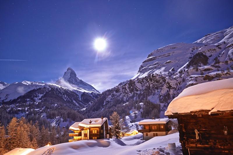 Matterhorn in a full moon night - Zermatt