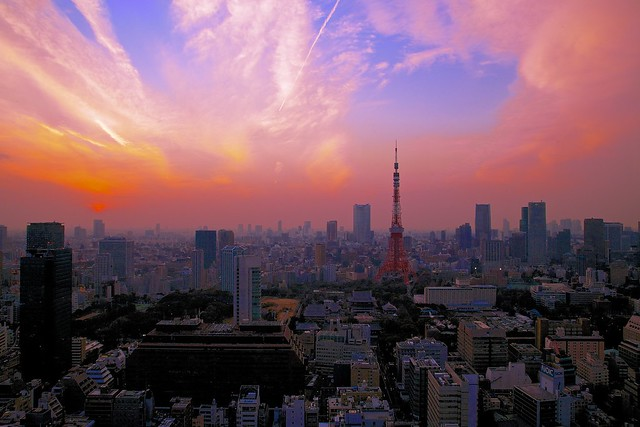 The evening city view (Featuring Tokyo Tower)