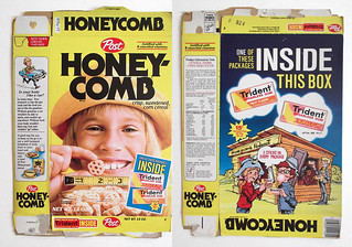 Vintage Post 1977 Honeycomb Cereal Box Trident Gum
