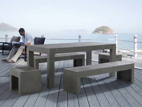 modern design concrete patio dining set