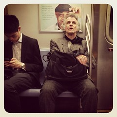 Monday night R train. #nycsubwayportraits #nyc #train #subway #publictransportation #commute