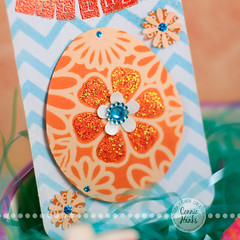 Happy Spring tag - turquoise/orange egg close up