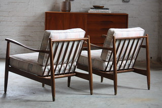Graceful Pair!  Swedish Mid Century Modern Folke Ohlsson Lounge Chairs Model 42 for Dux (Sweden, 1960s)