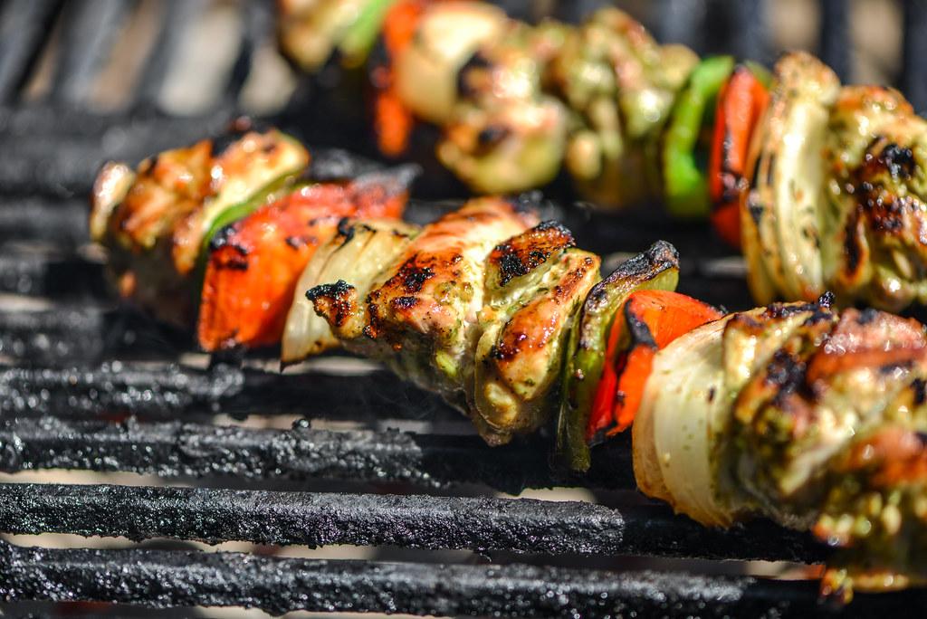 Cilantro-and-Lime Marinated Chicken Fajita Kebabs