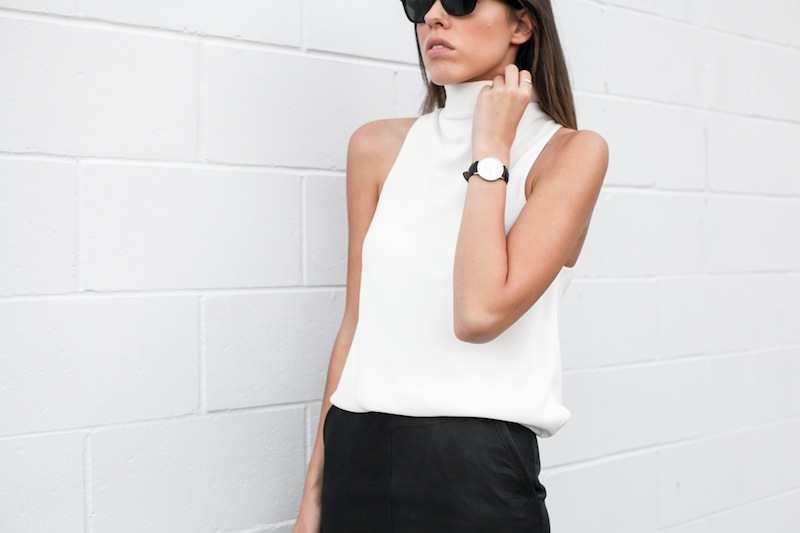 modern legacy blog street style off duty Camilla and Marc high neck white top ASOS leather pencil skirt Helmut Lang oxfords loafers monochrome minimalist Alexander Wang blogger what to wear to work (10 of 10)