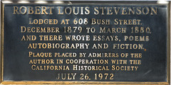 Photo of Robert Louis Stevenson bronze plaque