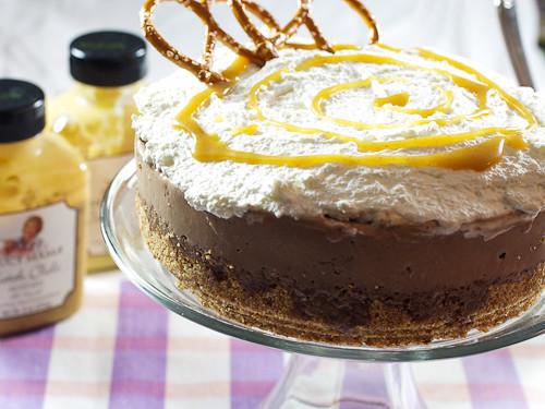 Chocolate Stout Ice Cream Cake with Mustard Pretzel Crust & Mustard Butterscotch Sauce