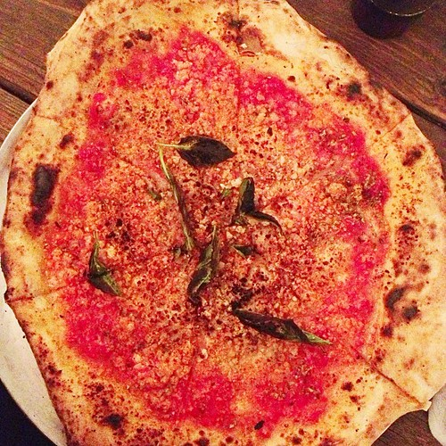 "That one time I asked a fancy pizza place what they meant by ""vegan Parmesan"" and the waitress said ""oh it's just nutritional yeast."" My eyes bugged out a bit and I ordered the pizza sans soy cheese. #vegan #porto #asburypark"