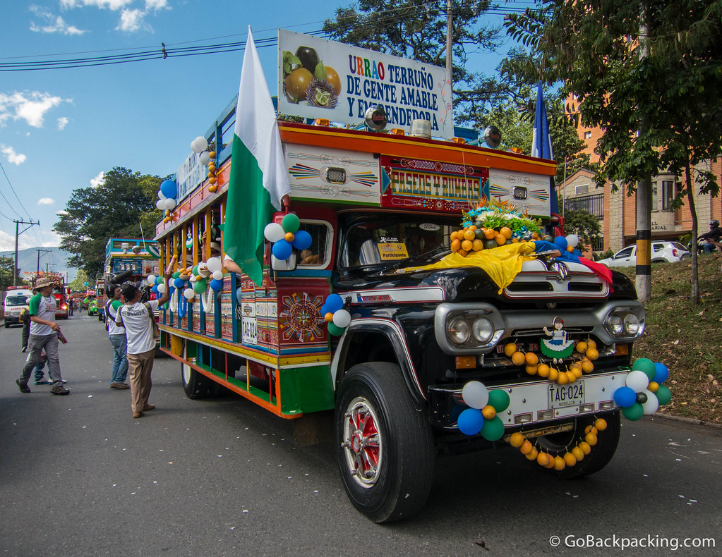 This chiva was decorated with Granadillas (the orange fruits)
