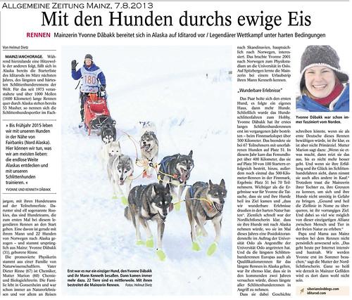 Yvonne Dåbakk in der Mainzer Allgemeinen Zeitung vom 7.8.2013, Husky-Presse von Helmut Dietz