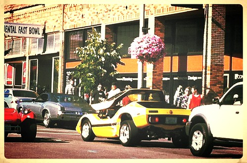 classic cars in downtown
