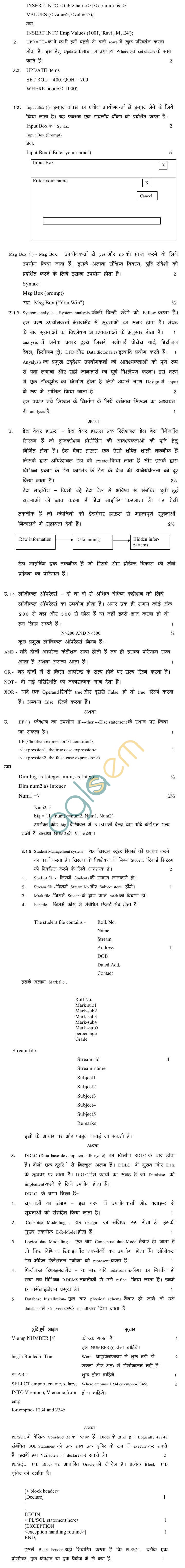 MP Board Class XII Informatic Pratices Model Questions & Answers - Set 3