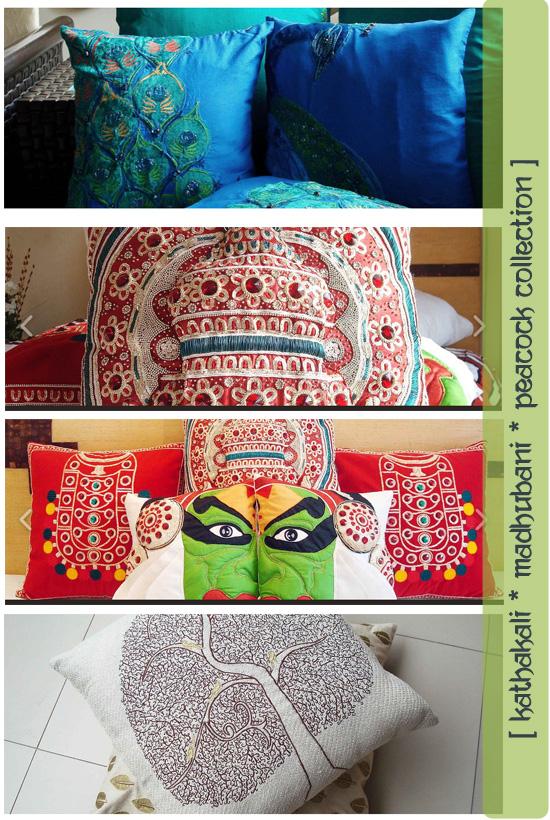 Kathakali Madhubani cushions