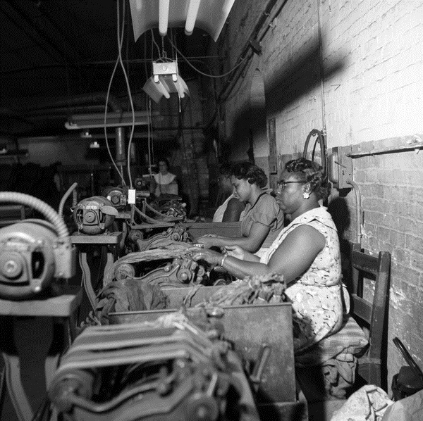 Workers processing tobacco leaves for the Florida Cigar Company in Quincy, Florida