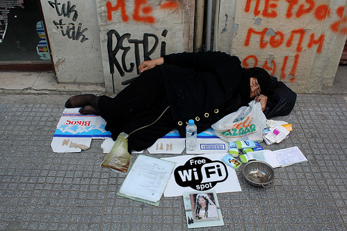 No job? No money? No problem: Greek prime minister, Antonis Samaras promises free wi-fi. by Teacher Dude's BBQ
