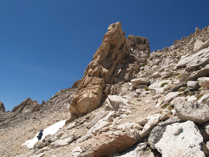 Climbing the southeast slope of Matterhorn Peak