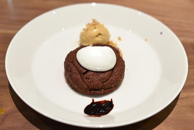 hazelnut chocolate cake, rosemary butterscotch ice cream
