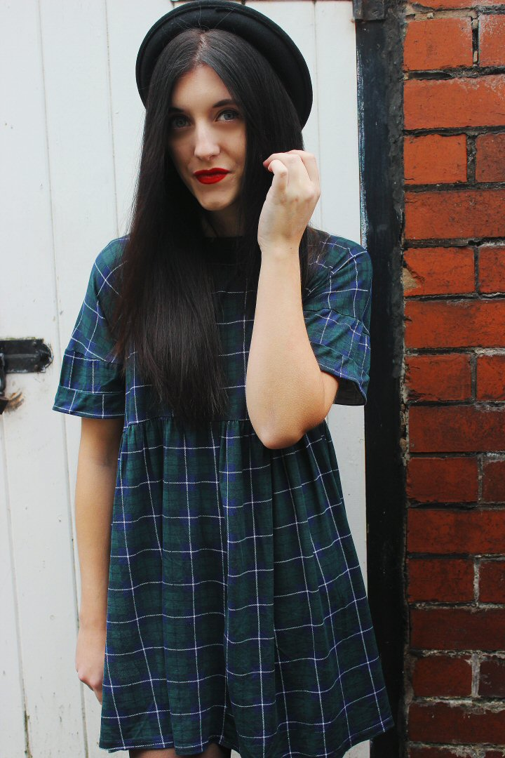 Green Checked Smock Dress