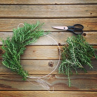 Rosemary wreath making