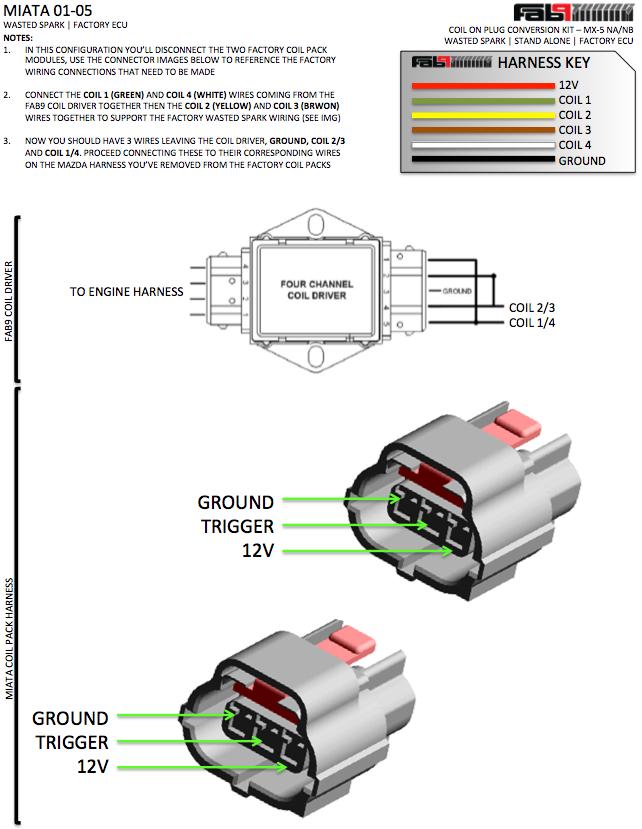 Miata Ignition Coil Wiring Diagram : Miata wire coils but harness wiring