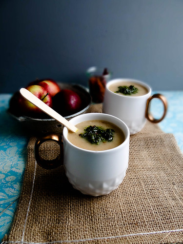 creamy celeriac & apple soup // spicy winter greens oil
