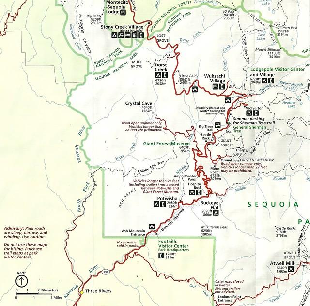 sequoia national park map pdf