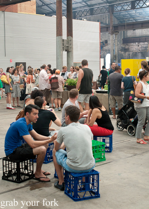 Milk crate seating at the Sunday Marketplace, Rootstock Sydney 2014