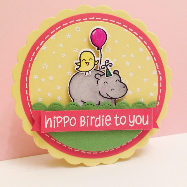 Lawn Fawn 'Hippo Birdie to You' Card