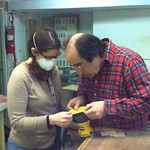 John teaching Lisa in the Wood Shop at Mt. Elliott Makerspace