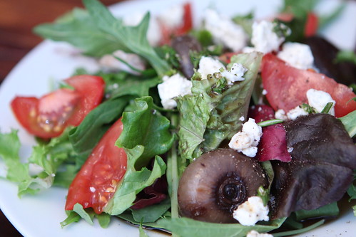 Balsamic Roasted Onion Salad with Feta and Campari Tomato