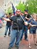 Open-carry activist and young woman, Main St. Arts Festival, downtown Fort Worth, April 12, 2014