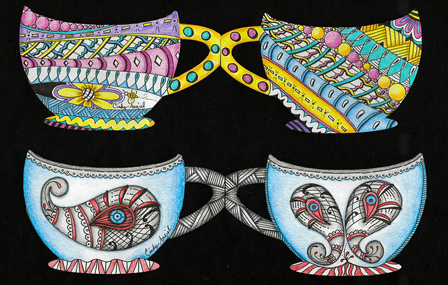 Zentangle tea cups by Cindy Angiel