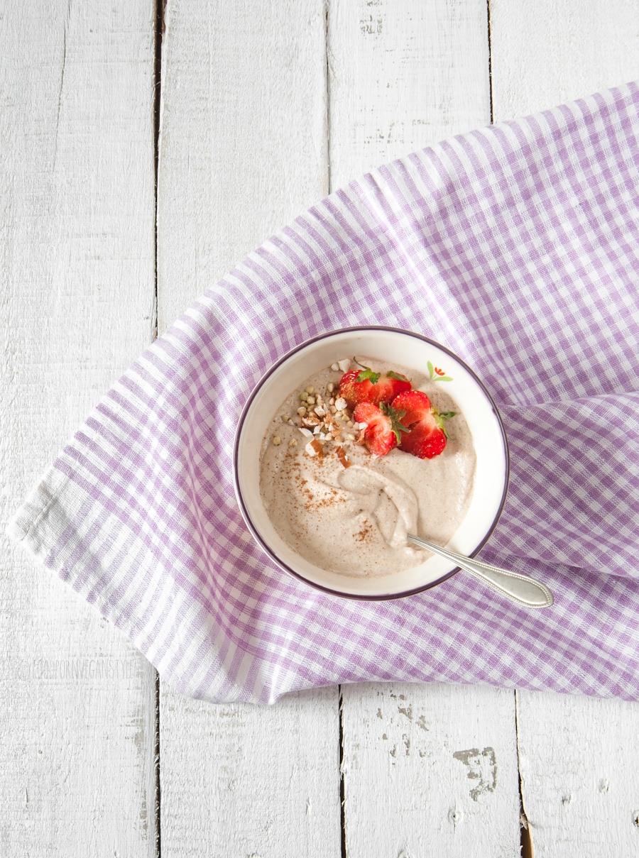 Raw buckwheat porridge with almonds and fruits