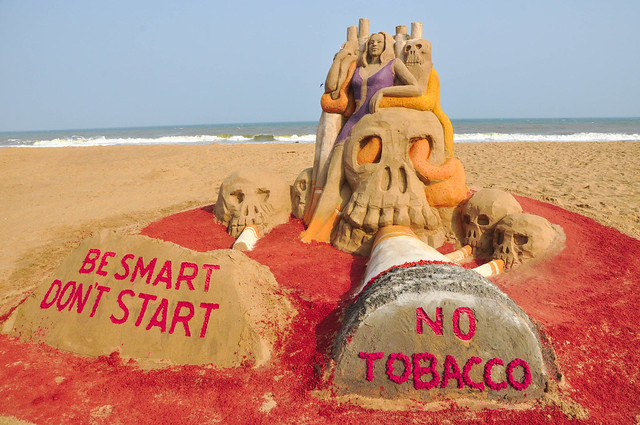 Anti-Tobacco Day, Sand artist Sri Manas Kumar Sahoo's Sand Sculpture spread awareness