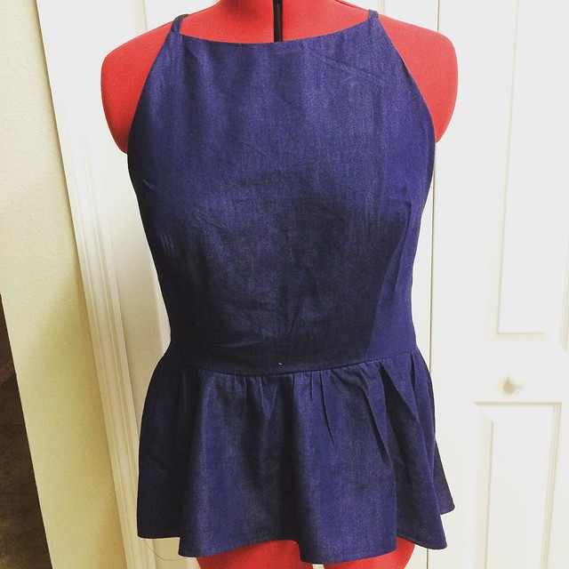 Denim Hi-Lo Peplum Strap atop!  #Itsmelaniedarling #clothier #sewologist #seamstress #sewing #sewist #sewcialist #sewingblogger #asewinglife #imakemyownclothes #imadethis #diy #diyer #diystyle #diyfashion #dressmaker #isew #sew #fashion #customsewing #fas