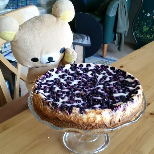 Oh yes, we had some berry good pie yesterday. Blueberry cheesecake made by my MIL and berries from the nearby forrest. Someone is a happy little Björn. #cheesecake #blueberry #rilakkuma #dessert